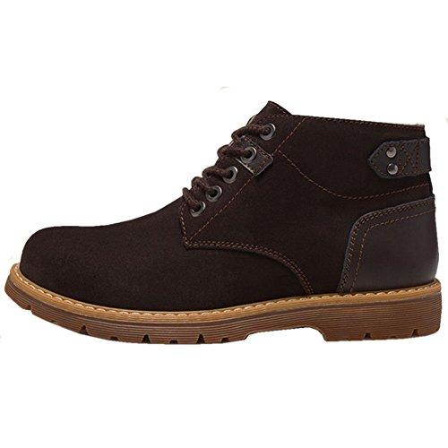Taoffen Hombres Moda Invierno Chukka Botas High Top Zapatos Marrón Oscuro