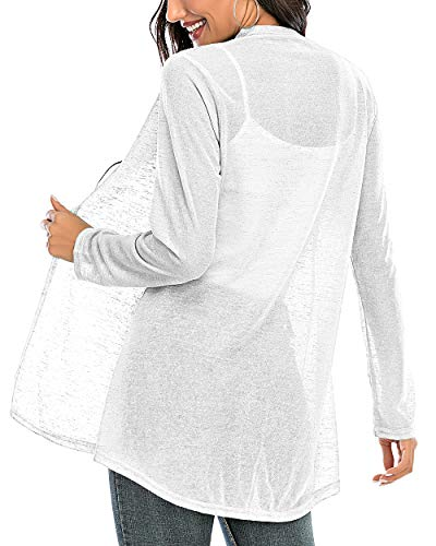 CIZITZZ Womens Casual Long Sleeve Open Front Cardigan Sweater Drape Lightweight Duster High Low Hem,White,M