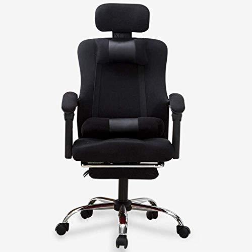 Kontorsstol skrivbordsstol ergonomisk dator kontorsstol chef stol spelstol ryggstöd hem läderstol vilande lyft svängbar stol – svart