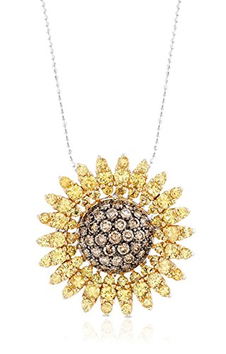 Victoria Kay 4 3/4ct Yellow Sapphire & 1 7/8ct Brown Diamond Sunflower Pendant/Brooch in 18k White & Yellow Gold, 16""