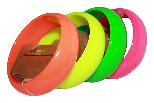 Neon Nation Set of 4 Regular Bright Acrylic Bangles 80s Bracelets (80s Neon Fashion)