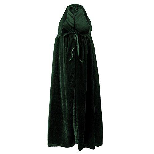 [Acecharming Kids Long Hooded Cape Halloween Fancy Dress (Green)] (Green Medieval Dress)