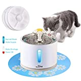 Beacon Pet Cat Water Fountain Stainless Steel, LED 81oz/2.4L Automatic Pet Fountain Dog Water Dispenser with 3 Replacement Filters & 1 Silicone Mat for Cats, Dogs