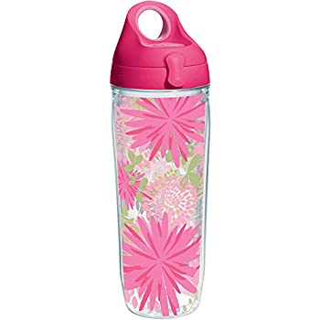 43492aef90 Tervis 1231842 Pink Mums Tumbler with Wrap and Passion Pink Lid 24oz Water  Bottle, Clear