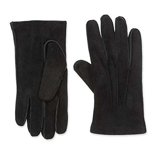 Portolano Suede Leather Saddle Stitch Black Gloves Men