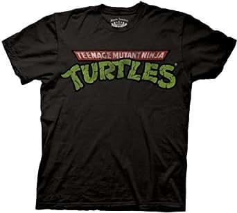 Mens Teenage Mutant Ninja Turtles Logo T-shirt, Black Adult Tee, X-Large