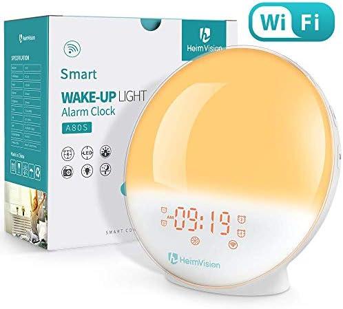 HeimVision Sunrise Alarm Clock, Smart Wake up Light Sleep Aid Digital Alarm Clock with Sunset Simulation and FM Radio, 4 Alarms 7 Alarm Sounds Snooze 20 Brightness