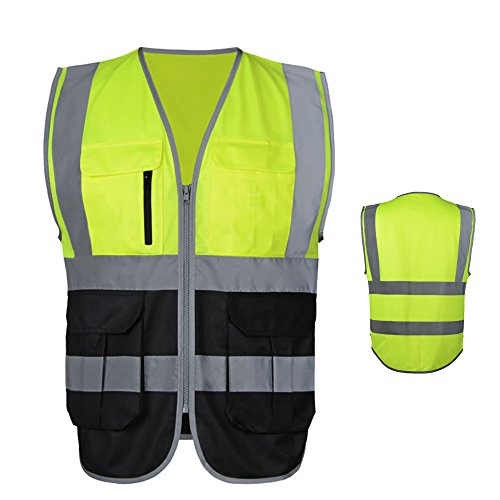 JKSafety 7 Pockets Class 2 High Visibility Zipper Front Safety Vest With Reflective Strips.Meets ANSI/ISEA Standards Yellow-Black (7 High Pocket)
