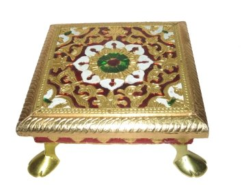 Indyhaat Wooden Choki with Meenakari work (Golden, 12.7 cm x 12.7 cm) Puja Articles at amazon