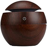 SINMA 130ml Wood Grain Mini Aroma Humidifier USB Electric Cool Mist Ultrasonic Essential Oil Aromatherapy Diffuser for Travel Office Home Bedroom Study Yoga Spa (Brown)