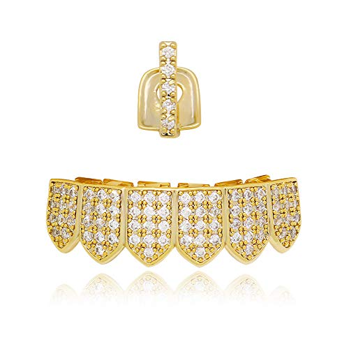Bar Silver Iced Out Grillz - Lureen 14k Gold Iced-Out Pave CZ Bar Grillz Teeth Top and 6 Bottom Set + Extra Molding Bars (Gold)