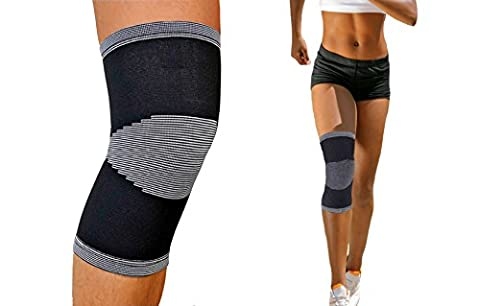 Compression Knee Support Sleeve (BLACK) 1 or 2 Pairs By One & Only USA (1) (Walmart Beactive Brace)