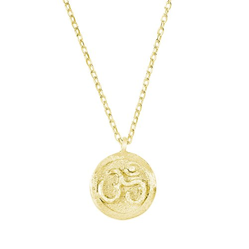 14k Yellow Gold Plated 925 Sterling Silver Matte Finish Textured OHM Om Aum Pendant Necklace,18