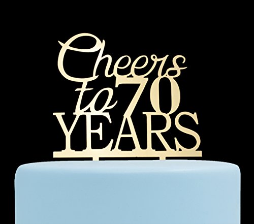 Cheers to 70 Years Cake Topper-70th Birthday And Celebration Party Decoration-Gold