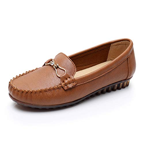 Toimothcn Women Penny Loafers Split Leather Slip-On Comfortable Driving Moccasins Flats Ballet Shoes(Brown1,US:7.5) ()