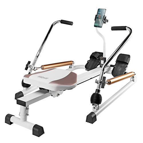 fitbill Rowing Machine Rower with Workout App, Hydraulic Resistance and Free Motion Arms, Model f.Row -