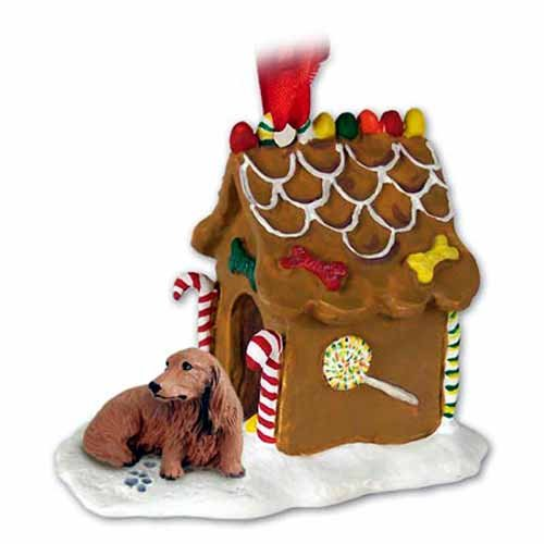 Longhaired Dachshund Gingerbread House Christmas Ornament Red - DELIGHTFUL!