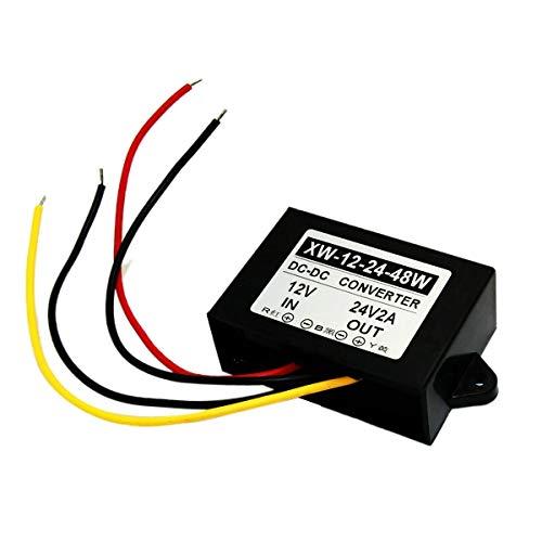 Amplificador de Voltaje de CC a CC regulador Adaptador de alimentaci/ón de 48 W 2 A EBILUN DC 12 V a 24 V Convertidor de Subida