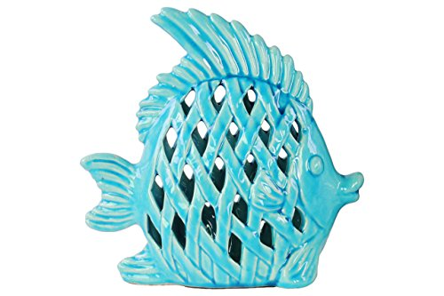 Small Angel Fish - Urban Trends Ceramic Angel Fish Figurine with Diagonal Cutouts Design Gloss Finish Turquoise, Turquoise