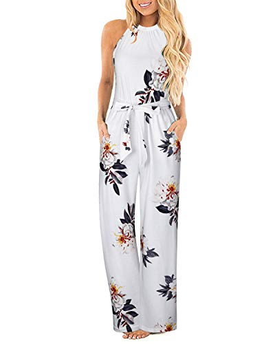 II ININ Women's Halter Neck Sleeveless Floral Jumpsuit Loose Full Length Belted Rompers with Pocket(Floral04,M)