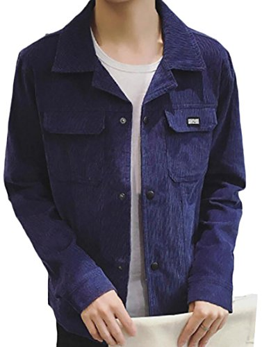 Dark Blue Long Casual Coat Generic Men's Corduroy Jacket Sleeve O07v6f7