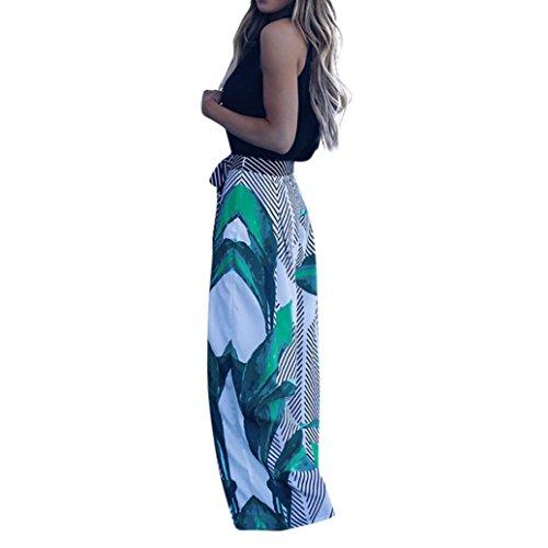 SFE Women Stripe Splicing Boho Hippie Loose Lounge Palazzo High Waist Wide Leg Pants (L, Multicolor)