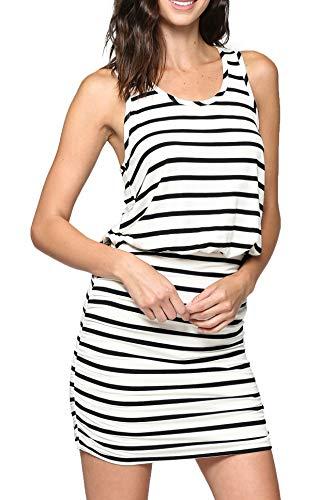 - LaClef Women's Mini Ruched Tank Shift Dress (Ivory/Black Stripe, S)