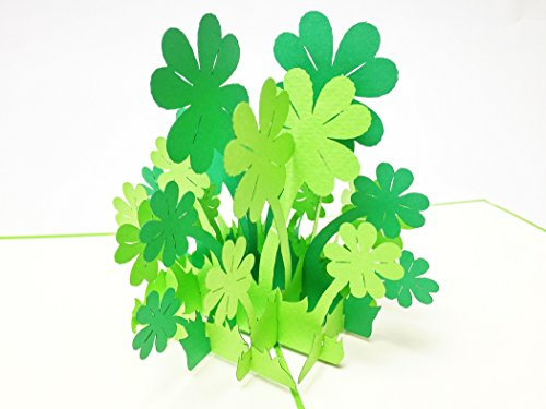 Leaf Holiday Card (Creve 3D Popup Greeting Card Birthday Card Celebration Card Lucky Clover Four Leaves Clover ReNew)