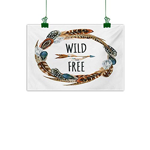 Anzhutwelve Feather,Art Prints Watercolor Wreath Bird Feathers Circle with an Arrow Wild and Free Concept Bathroom Wall Decor Brown Orange Blue W 24