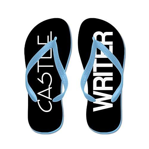Schrijver Uit De Burcht Van Het Kasteel - Flip-flops, Grappige Leren Sandalen, Strand Sandalen, Caribbean Blue