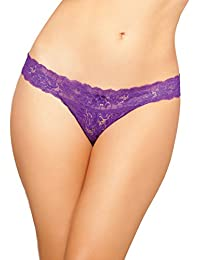 SEVEN 'TIL MIDNIGHT womens Rose Galloon Lace Open Crotch Tanga