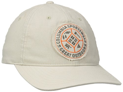 - Columbia Men's Washed Ballcap, Fossil/Quad Camp Patch, Small/Medium