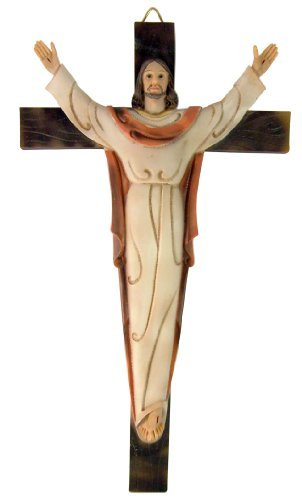 Risen Christ on Cross 13 Inch Resin Wall Crucifix for Home or Chapel Sanctuary Decor