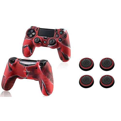 Insten-2-Pcs-Pythons-Protective-Case-Camouflage-Color-2-Pair-4-Pcs-Silicone-Analog-Thumb-Grip-Stick-Cover-BlackRed-For-Sony-Playstation-4-Ps4-Controller
