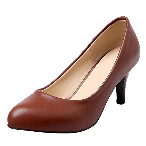 Carol Zapatos Fashion Mujeres Retro Cuff Office Lady Style Stiletto Bombas De Tacón Medio Zapatos Marrón