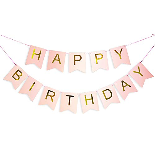 (Pink Happy Birthday Banner with Shimmering Gold Letters, Happy Birthday Bunting Banner for Party Decorations, Swallowtail Flag Happy Birthday Sign, gold happy birthday banner for Kids Girls Birthday)