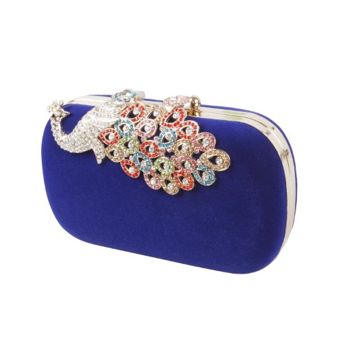 BMC Womens Elegant Rhinestone Peacock Clasp Velvet Cocktail Evening Handbag (Blue) ()