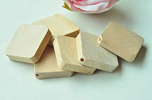 15pcs Square Wood Bead Natural Unfinished Wooden Rectangle Craft Necklace Punk