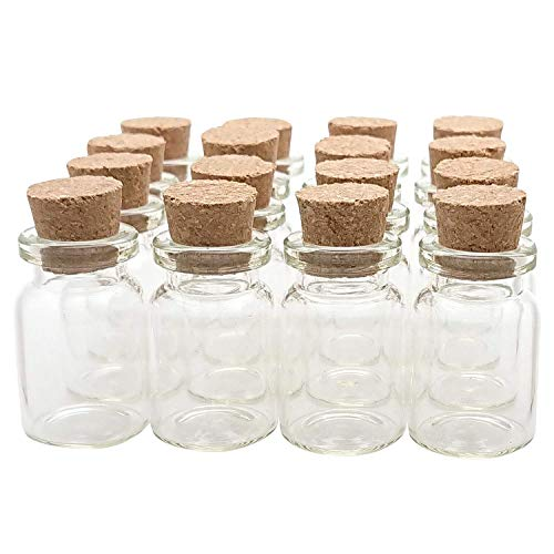 Axe Sickle 36PCS 5ml Cork Stoppers Glass Bottles DIY Decoration Mini Glass Bottles Favors, Mini Vials Cork, Message Glass Bottle Vial Cork, Small Glass Bottles Jars Corks for Wedding Party Favors. -