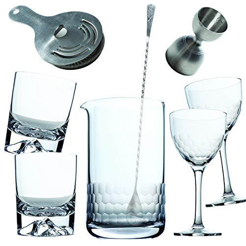 Amehla Cocktail Mixing Glass Bar Kit: 8 Piece Bar Set with Bar Tools and Glasses – Home Mixology Bartending Kit with 2…