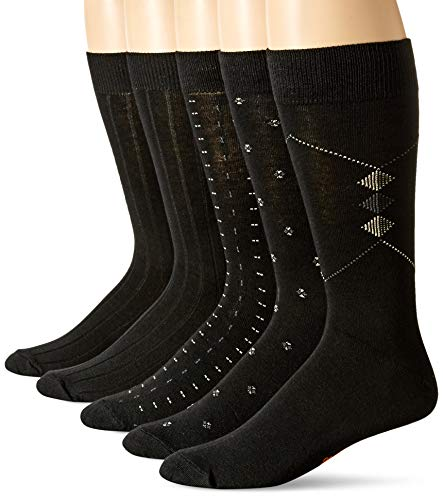 Dockers Men's Classics Dress Dobby Crew Socks (5 & 10 Packs), Black Fashion), Shoe Size: 6-12
