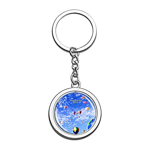 Hqiyaols Keychain USA America Albuquerque Souvenirs Crystal Spinning Round Stainless Steel Key Chain Ring Travel City Gifts Metal
