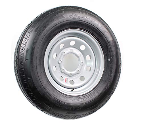 eCustomRim Radial Trailer Tire On Rim ST235/80R16 Load E 8 Lug Silver Modular Wheel