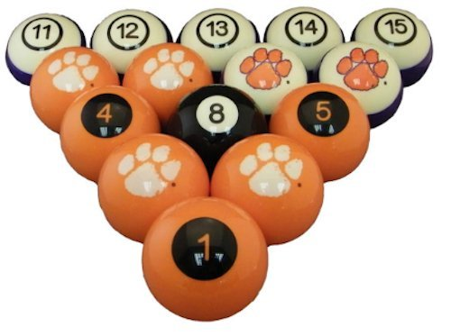 CU CLEMSON TIGERS NCAA Collegiate Billiards Pool Ball Sets College by HOOD SPORTS PRODUCTS
