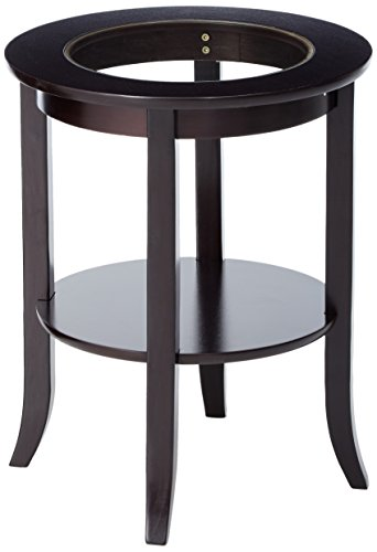 Frenchi Furniture-Wood Genoa End Table, Round Side /Accent Table , Inset Glass Espresso Top Accent End Table