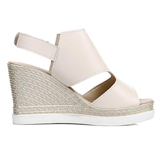 AIYOUMEI Damen Peep Toe Knöchelriemchen Keilabsatz Sandalen mit Plateau Bequem Sommer Schuhe Beige