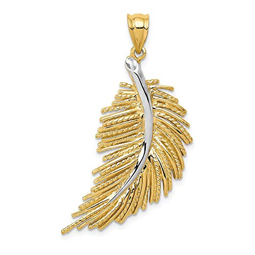 Jewelry Pendants & Charms Themed Charms 14k with White Rhodium Polished Feather ()