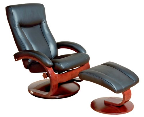 Mac Motion Oslo Collection Recliner with Matching Ottoman in Black Top Grain Leather with Merlot Frame