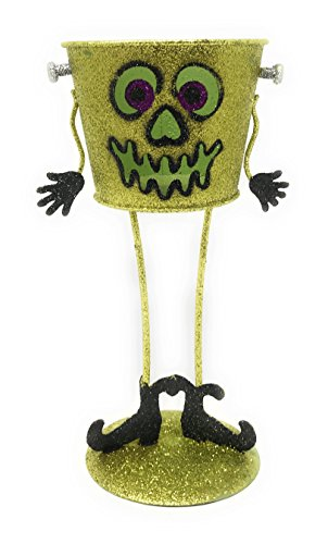 Nantucket Home Halloween Glitter Bucket Tealight Candle Holder (Green Monster)