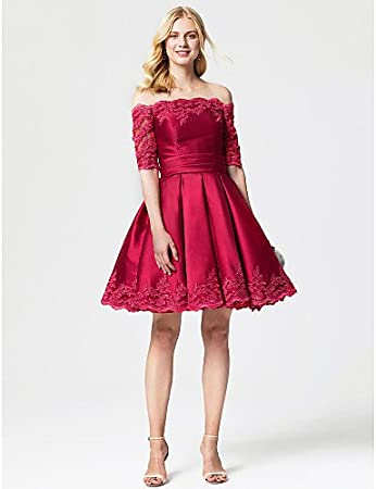 549836edd42 HY OB Princess Off-The-Shoulder Knee Length Lace Satin Cocktail Party Dress  With Sash